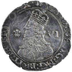 ENGLAND: Charles I, 1625-1649, AR sixpence, 1643. VF-EF