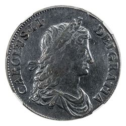 GREAT BRITAIN: Charles II, 1660-1685, AR crown, 1663. NGC VF