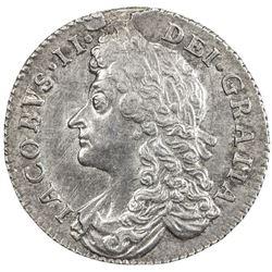 GREAT BRITAIN: James II, 1685-1688, AR sixpence, 1687. EF