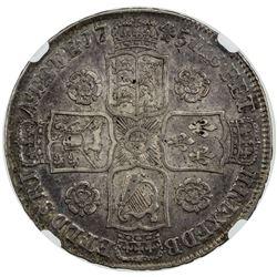GREAT BRITAIN: George II, 1727-1760, AR half crown, 1745, 5 over 3. NGC EF40