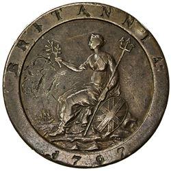 GREAT BRITAIN: George III, 1760-1820, AE penny, 1797. VG