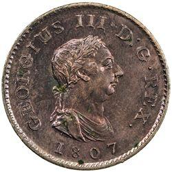 GREAT BRITAIN: George III, 1760-1820, AE farthing, 1807. UNC