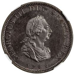 GREAT BRITAIN: George III, 1760-1820, proof, bronzed copper farthing, 1799, NGC PF65