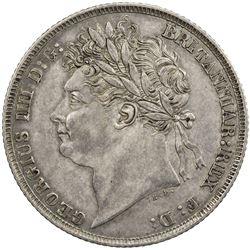 GREAT BRITAIN: George IV, 1820-1830, AR shilling, 1821. EF