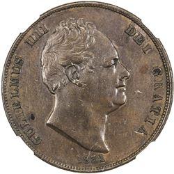 GREAT BRITAIN: William IV, 1830-1837, AE penny, 1831. NGC AU50