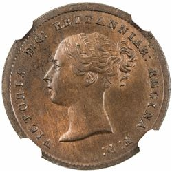 GREAT BRITAIN: Victoria, 1837-1901, AE 1/2 farthing, 1856. NGC MS64
