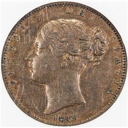 GREAT BRITAIN: Victoria, 1837-1901, AE farthing, 1849. NGC AU55