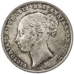 GREAT BRITAIN: Victoria, 1837-1901, AR shilling, 1842. AU