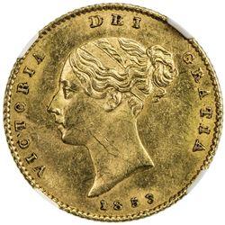 GREAT BRITAIN: Victoria, 1837-1901, AV 1/2 sovereign, 1853. NGC MS63