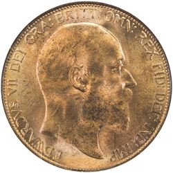 GREAT BRITAIN: Edward VII, 1901-1910, AE penny, 1905. NGC MS64