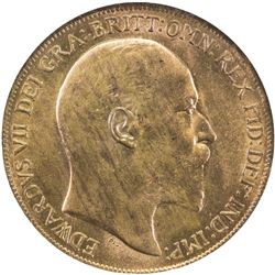 GREAT BRITAIN: Edward VII, 1901-1910, AE penny, 1909. NGC MS64