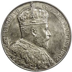 GREAT BRITAIN: Edward VII, 1901-1910, AR coronation medal (84.4g), 1902. UNC