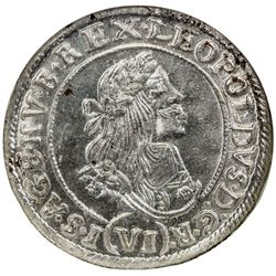 HUNGARY: Leopold I, 1657-1705, AR 6 krajczar, [Kremnitz], 1669-KB. NGC MS64