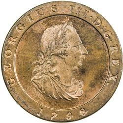 ISLE OF MAN: George III, 1760-1820, AE halfpenny, 1798, proof