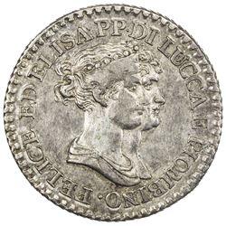 LUCCA: Felice Bacciocchi & Elisa, 1805-1814, AR franco (4.95g), 1807. EF-AU