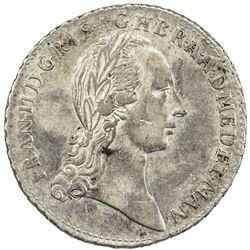 MILAN: Francesco II, 1792-1797, AR 1/2 lira (3.10g), 1792. AU
