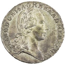 MILAN: Francesco II, 1792-1797, AR lira (6.22g), 1792. UNC