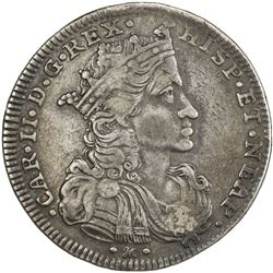 NAPLES: Carlo II, 1665-1700, AR 1/2 ducato of 50 grana (10.71g), 1693. F-VF