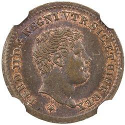NAPLES & SICILY: Ferdinando II, 1830-1859, AE 1/2 tornese, 1835. NGC MS66