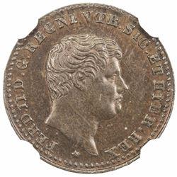 NAPLES & SICILY: Ferdinando II, 1830-1859, AE 1/2 tornese, 1833. NGC MS64