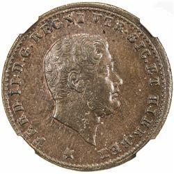 NAPLES & SICILY: Ferdinando II, 1830-1859, AE tornese, 1852. NGC MS65
