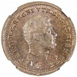 NAPLES & SICILY: Ferdinando II, 1830-1859, AE tornese, 1854. NGC MS65