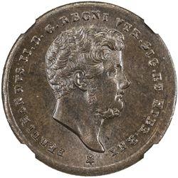 NAPLES & SICILY: Ferdinando II, 1830-1859, AE 1/2 tornese, 1857. NGC MS65