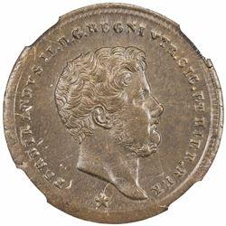 NAPLES & SICILY: Ferdinando II, 1830-1859, AE tornese, 1857. NGC MS65