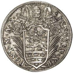 PAPAL STATES: Innocent XI, 1676-1689, AR testone (9.13g), 1686-X. EF