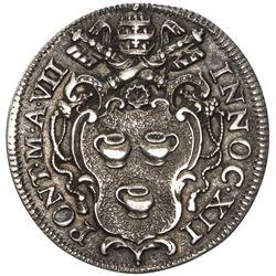 PAPAL STATES: Innocent XII, 1691-1700, AR giulio (2.99g), 1697-VII. EF