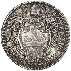 PAPAL STATES: Clement XII, 1730-1740, AR testone (8.34g), 1735-V. VF