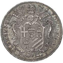 PAPAL STATES: Clement XIII, 1758-1769, AR testone (7.90g), 1763-VI. EF-AU