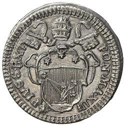 PAPAL STATES: Pius VI, 1775-1799, AR grosso (1.27g), year XII (1786). AU