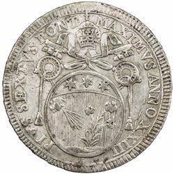 PAPAL STATES: Pius VI, 1775-1799, AR 60 baiocchi, 1797 year XXIII. EF