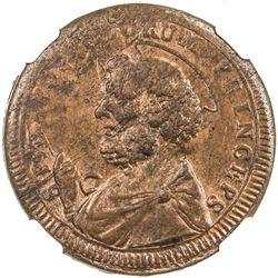 PAPAL STATES: Pius VI, 1775-1799, AE 2 1/2 baiocchi, Viterbo, 1796. NGC MS63