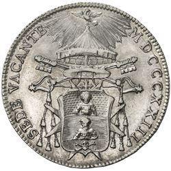 PAPAL STATES: Sede Vacante, AR 1/2 scudo, 1823-B. EF