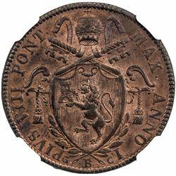 PAPAL STATES: Pius VIII, 1828-1829, AE mezzo baiocco, 1829-B. NGC MS64