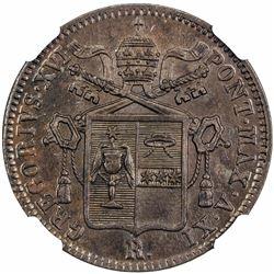 PAPAL STATES: Gregorio XVI, 1831-1846, AE baiocco, 1841-R anno XI. NGC MS63