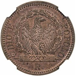 ROMAN REPUBLIC: Second Republic, 1848-1849, AE 1/2 baiocco, 1849-R. NGC MS64