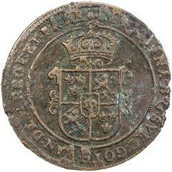 SWEDEN: Kristina, 1632-1654, AE ore, Sater, 1639. VF