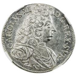 SWEDEN: Karl XI, 1660-1697, AR 2 mark, Stockholm, 1694. NGC AU58