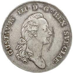 SWEDEN: Gustav III, 1771-1792, AR riksdaler, 1775. VF