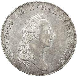 SWEDEN: Gustav III, 1771-1792, AR riksdaler, 1777. EF