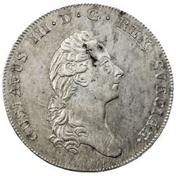 SWEDEN: Gustav III, 1771-1792, AR riksdaler, 1784. EF