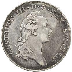 SWEDEN: Gustav III, 1771-1792, AR 2/3 riksdaler, 1776. VF