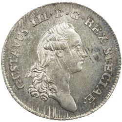 SWEDEN: Gustav III, 1771-1792, AR 1/3 riksdaler, 1783. UNC