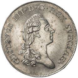 SWEDEN: Gustav III, 1771-1792, AR 1/3 riksdaler, 1784. AU