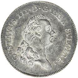 SWEDEN: Gustav III, 1771-1792, AR 1/3 riksdaler, 1787. EF-AU