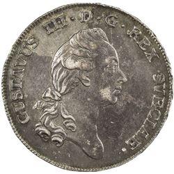 SWEDEN: Gustav III, 1771-1792, AR 2/3 riksdaler, 1778. VF-EF