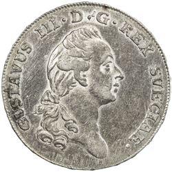 SWEDEN: Gustav III, 1771-1792, AR 2/3 riksdaler, 1779. EF